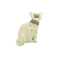 Bouton chat blanc collier gris