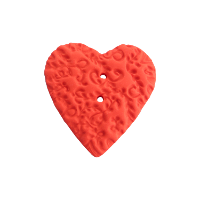 Bouton gros coeur motif relief rouge