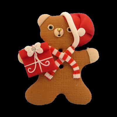 Nounours Noel Bouton fantaisie Cavertine en forme de nounours Noël marron et et