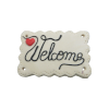 Bouton gros rectangle beige Welcome