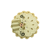 Bouton gros rond cannelé Shabby chic beige